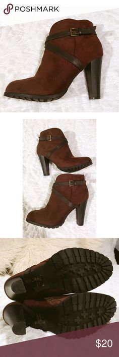 Too Lips Brown faux suede booties size 9 I can no longer wear heels so I'm listing several Boots that I purchased last winter. Most have only been worn once. These are brown faux suede booties with a strap design and a 3 1/2 inch heel. Very stylish size 9 too Lips Shoes Ankle Boots & Booties