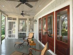 Decoration: Porch Ceiling Fans Attractive Outdoor Patio Stylish Fan With 10 of Porch Ceiling Fans Covered Back Porches, Screened In Porch, Front Porch, Porch Ceiling, Ceiling Fans, Patio Fan, Tongue And Groove Walls, Fan Decoration, Wrought Iron Gates
