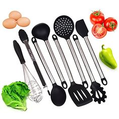 Super Solid 8 Pieces Cooking Utensils Set With Non Stick Silicone Tips and Stainless Still For Pots and Pans - Serving Tongs, Spoon, Spatula Tools, Slotted Turner, Pasta Server, Ladle, Strainer, Whisk. For product info go to:  https://all4hiking.com/products/super-solid-8-pieces-cooking-utensils-set-with-non-stick-silicone-tips-and-stainless-still-for-pots-and-pans-serving-tongs-spoon-spatula-tools-slotted-turner-pasta-server-ladle-strainer-whisk/
