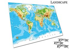 Poster Print detailed World map cities countries Vector Size=A3
