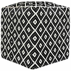 Black Arabian Nights Indoor/Outdoor Pouffe. Lightweight, strong and fade-resistant, this indoor/outdoor pouffe from Green Decore has it all! Featuring a geometric design reminiscent of moroccan patterns it will look great in any patio, garden or balcony or even inside. Very easy to care for thanks to its recycled plastic cover it will bring style without the hassle!