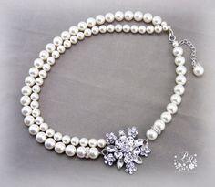 Wedding Necklace Bridal double strand Swarovski Pearl & Flower Crystal Rhinestone Necklace Wedding Jewelry Bridal Necklace