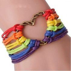 Pride Gay Lesbian Love Lgbt Bracelets Rainbow Flag Charm Heart Braided Bracelet