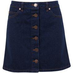 Miss Selfridge Button Through A-Line Skirt ($49) ❤ liked on Polyvore featuring skirts, mini skirts, bottoms, denim, dark wash denim, mini skirt, short blue skirt, blue a line skirt, blue skirt and short skirts