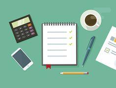 Scrivania illustrazione vettoriale, attività commerciale ufficio sul posto di lavoro, concetto piatto tavolo - illustrazione arte vettoriale
