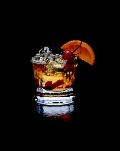 makers mark garnished in a rocks glass