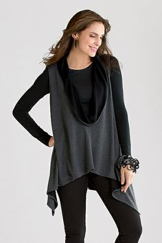"""""""Trampoline Vest"""" by Katrin Noon Sweatshirt-cozy and full of verve, this reversible vest has a deep, dramatic neckline that creates a striking focal point over tees, tanks, or dresses."""
