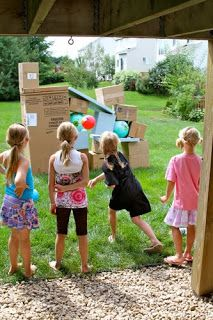 DIY Angry Birds Game. Fun way to get kids excited about throwing practice!