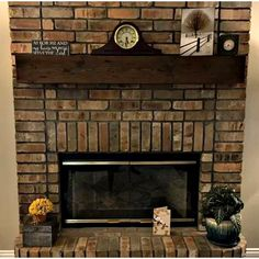 Millwood Pines Shiela Fireplace Shelf Mantel & Reviews   Wayfair Distressed Fireplace, Farmhouse Fireplace Mantels, Red Brick Fireplaces, Rustic Fireplace Mantels, Fake Fireplace, Fireplace Shelves, Fireplace Inserts, Mantel Shelf, Fireplace Ideas
