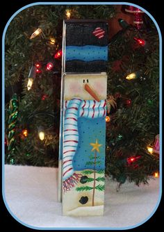 """Hand Painted 9"""" tall Wooden Snowman Memo Clip, Letter holder, large clothespin, Primitive, Folk Art, Decorative painting, Tole painting"""