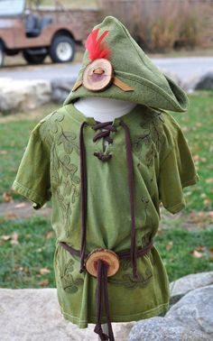 Baby Toddler Child Peter Pan Tunic and Felt Hat Set by Beckwoods
