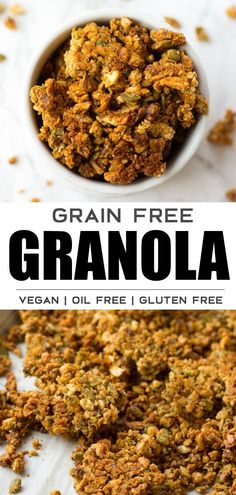 Grain Free Granola recipe that is also vegan! No oil added and naturally sweetened. #vegan #grainfree #plantbased #nuts #granola #noracooks Nut Granola Recipe, Vegan Granola, Grain Free Granola, Crunchy Granola, Vegan Brunch Recipes, Vegetarian Breakfast Recipes, Delicious Vegan Recipes, Scone Recipes, Breakfast Menu