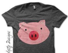 Pink Pig Iron on Transfer - Farm Animals Iron on Tshirt / Girls Pig Shirt
