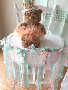 Dressed up high chair at a teddy bear tea party birthday party! See more party ideas at CatchMyParty.com!