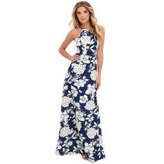 cf22f34205d 2018 Summer Maxi Long Dress Women Halter Neck Vintage Floral Print  Sleeveless Boho Dress Plus Size Sexy Beach Dress Vestido