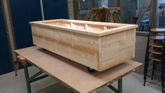 Plantenbak van (nieuw) steigerhout op wielen