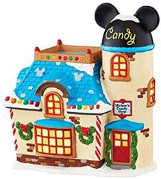 Department 56 Mickey's Christmas Village Collection Candy Shop Home - All Holiday Lane - Macy's Disney Christmas Village, Christmas Story Books, Disney Christmas Decorations, Christmas Kiss, Mickey Christmas, Disney Village, Disney Holidays, Christmas Stuff, Christmas Village Collections