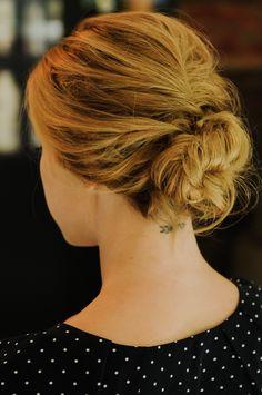 Low, romantic bun upstyle.   Sidewalk Ready – Everyday Fashion Blog – Kayley Heeringa