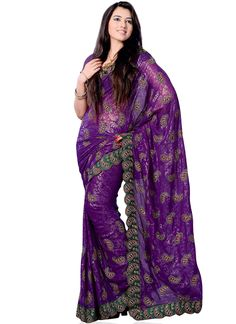Attractive Paisley Embroidered Georgette Saree