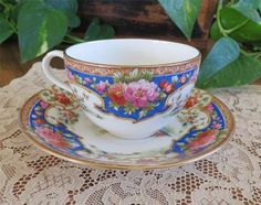GORGEOUS ANTIQUE SHELLEY BONE CHINA England OLD SEVRES Cup & Saucer PHEASANTS