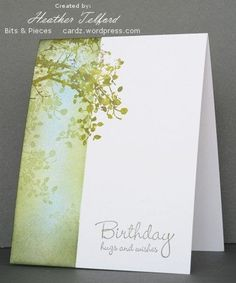 This sponging technique has real possibilites. gift card card Stress-Free Stamping with Shana Lovely as a Tree one layer card. Using the Ma...