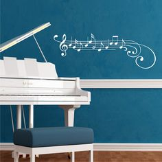 This will DEFINITELY be in my music room. Music Staff Vinyl Wall Art by BelvedereDesigns on Etsy, $36.00