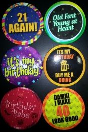 Buy Birthday Badges. Party store.