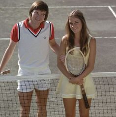 Jimmy Connors and Chris Evert pose together in Feb. 1974. (Tony...