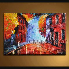 Huge Original Impressionist Palette Knife Artist Oil Painting Stretched Ready To Hang Landscape. This 1 panel canvas wall art is hand painted by A.Leong, instock - $165. To see more, visit OilPaintingShops.com