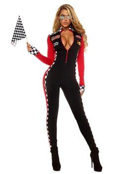 Womens Plunging Neck Racer Halloween Catsuit Costume Black pink queen.co.