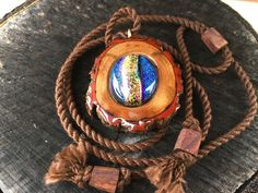 Dichroic Glass pendant/ wooden pendant/ organic by OKAVARKpendants