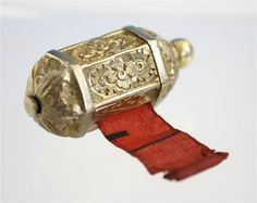 A Continental gilt metal tape measure second half 19th century, of hexagona