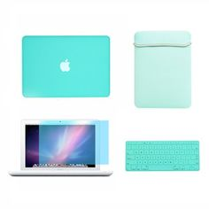 """Amazon.com: TopCase® Macbook White 13"""" 13-inch (A1342 / Latest) 4 in 1 Bundle - Rubberized Hot BLUE Hard Case Cover + Matching Color Soft Sleeve Bag + Silicone Keyboard Cover + LCD HD Clear Screen Protector With TopCase® Mouse Pad: Computers & Accessories"""