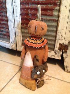 Primitive Stump Pumpkin Doll
