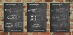 Chevrolet Car Art Patent Posters Group of 3 by PatentPrints