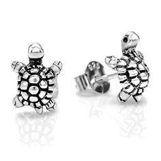 925 Oxidized Sterling Silver Little Sea Turtle 10 mm Post Stud Earrings