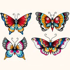 For a person with a taste of different, these rainbow colored butterflies are a perfect choice. Beautiful wings and bright colors make these cute butt.. Style: Neo Traditional. Color: Colorful. Tags: Creative, Cute, Easy, Awesome, Great, Elegant