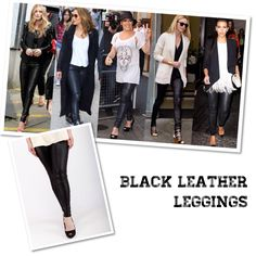 Celebrity style pick - Black leather leggings only at hellolilo.com