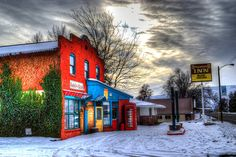 Red Inn in the Winter Hotel Motel Teal Yellow by RangeofExposure, $28.50