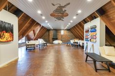 The indoor skate ramp and lounge is perhaps the most unexpected feature of the 98-year-old home.