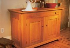 Cherry dry sink – Canadian Home Workshop Used Woodworking Machinery, Woodworking Desk Plans, Youtube Woodworking, Furniture Projects, Wood Projects, Diy Furniture, Canadian Woodworking, Building Kitchen Cabinets, Dry Sink