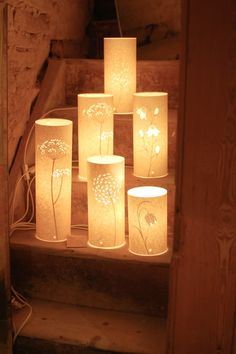 A lovely display of Hannah Nunn lamps for sale in Lost & Found shop in Holmfirth Tin Can Lanterns, Candle Lanterns, Paper Lanterns, Pvc Pipe Crafts, Paper Light, Lamps For Sale, Handmade Lamps, Paper Crafts Origami, Light Crafts