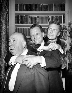 """Engaging in an unusual threesome with James Gregory and Vincent Price on the set of the ALFRED HITCHCOCK PRESENTS episode """"The Perfect Crime."""""""