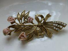 1928 Jewelry Victorian Porcelain Flower Brooch by ChicAvantGarde, $12.00