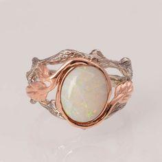Opal twig ring