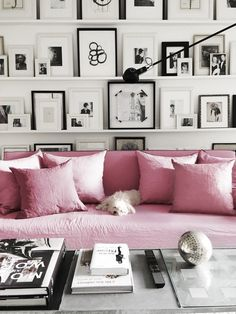 Pink linen sofa - cool idea: big pastel pink rug and the rest of the room black and white