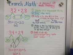 Mental Math strategy from Singapore Math (Branch Math) Mental Math Strategies, Math Resources, Math Activities, Therapy Activities, Fourth Grade Math, Second Grade Math, Math In Focus, Math Addition, Addition Games