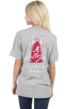 ROLL TIDE ROLL! Cheer as loud as you want in our new Megaphone tee! Oversized unisex fit. Model is wearing a MEDIUM! Features - 100% Combed Cotton 4.3 oz - Front Left Pocket Lauren James Logo - Tagles