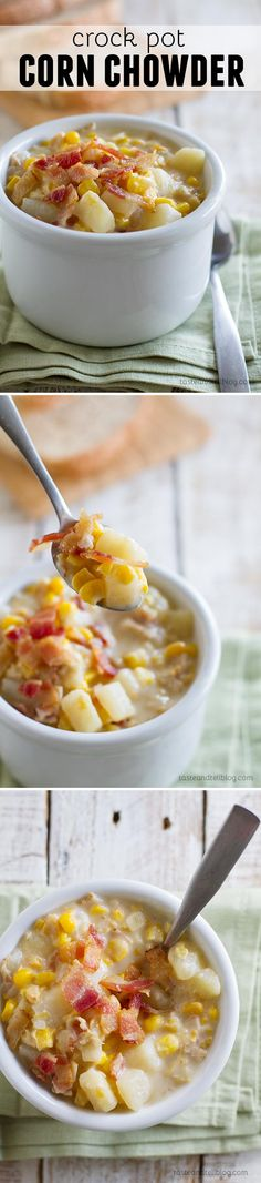 Crock Pot Corn Chowder - Slow Cooker Maissuppe - Geschmack und Tell - Cuisine Crock Pot Slow Cooker, Crock Pot Cooking, Slow Cooker Recipes, Crockpot Recipes, Soup Recipes, Cooking Recipes, Recipies, Healthy Recipes, Crock Pot Corn