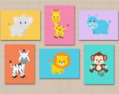 Safari vivero pared arte animales gris rosa por SweetBloomsDecor